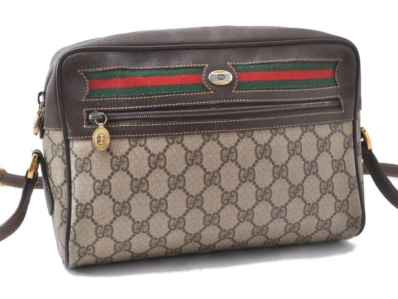 GUCCI Web Sherry Line Shoulder Bag GG PVC Leather Brown