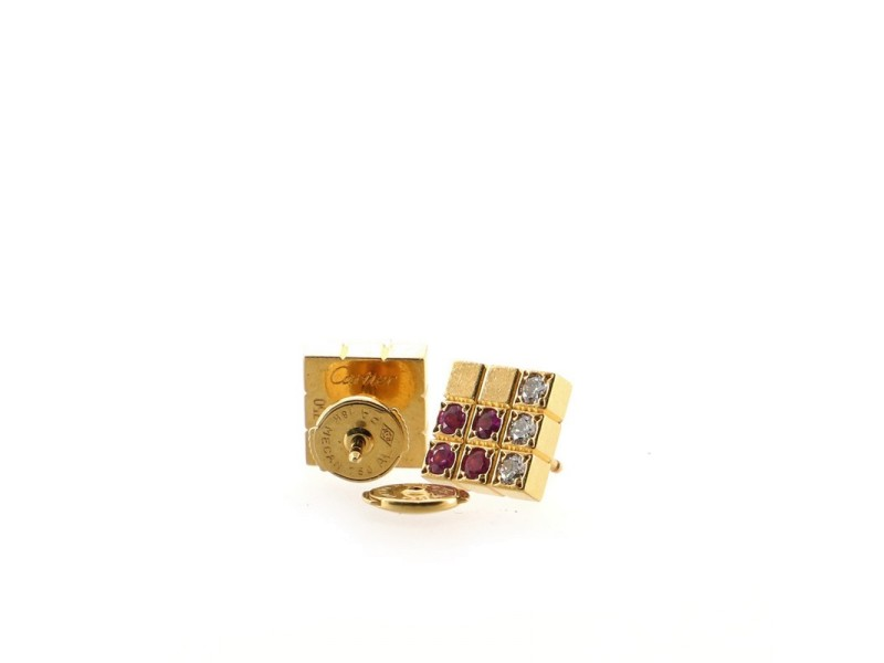 Cartier Lanieres Piet Stud Earrings 18K Yellow Gold with Diamond and Pink Sapphires