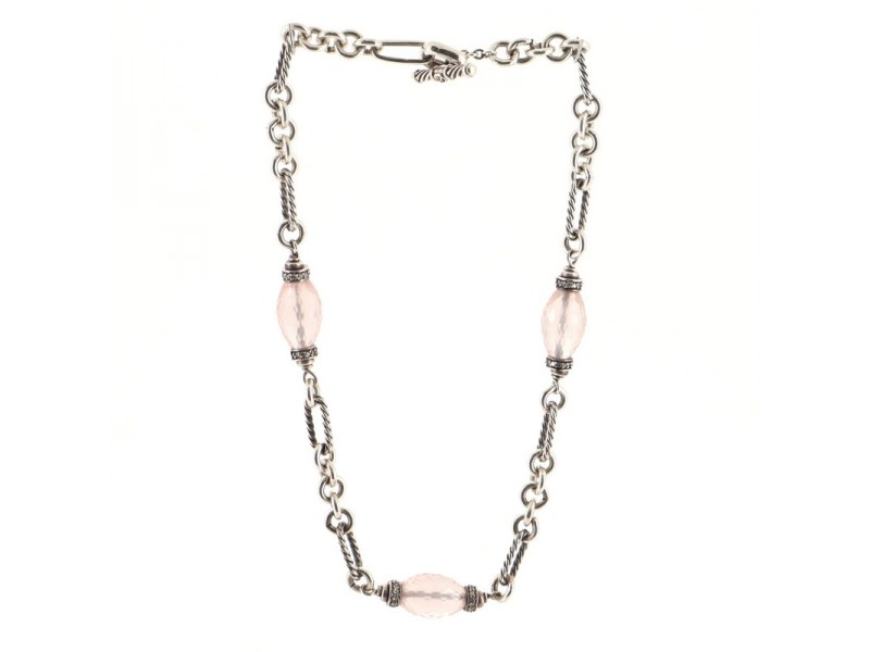 David Yurman Figaro Chain Necklace Sterling Silver with Rose Quartz and Diamonds Short