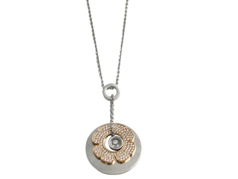 Chopard Happy 18K White & Rose Gold 0.72 Ct Diamond Clover Necklace