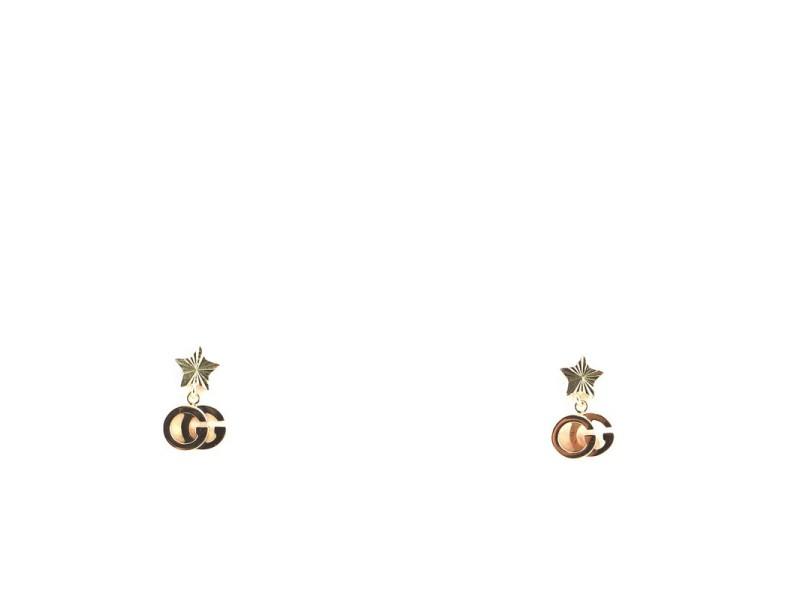 Gucci GG Running Star Drop Earrings 18K Yellow Gold