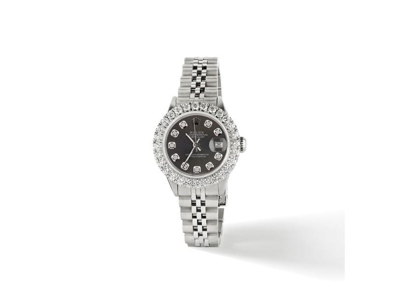 Rolex Datejust Steel 26mm Jubilee Watch 2CT Diamond Bezel / Rhodium Grey Dial
