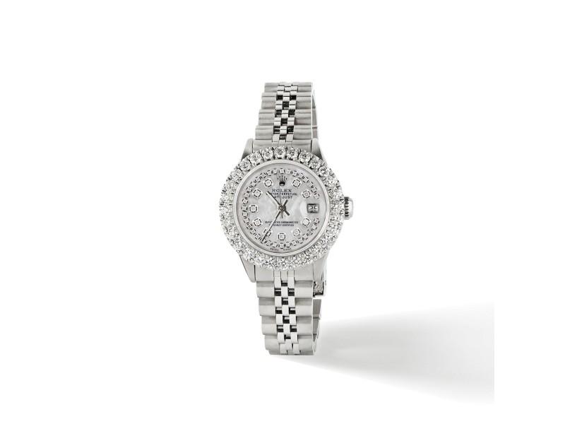 Rolex Datejust Steel 26mm Jubilee Watch 2CT Diamond Bezel / Royal MOP Dial