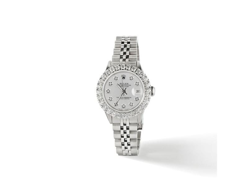 Rolex Datejust Steel 26mm Jubilee Watch 2CT Diamond Bezel / Silver Diamond Dial