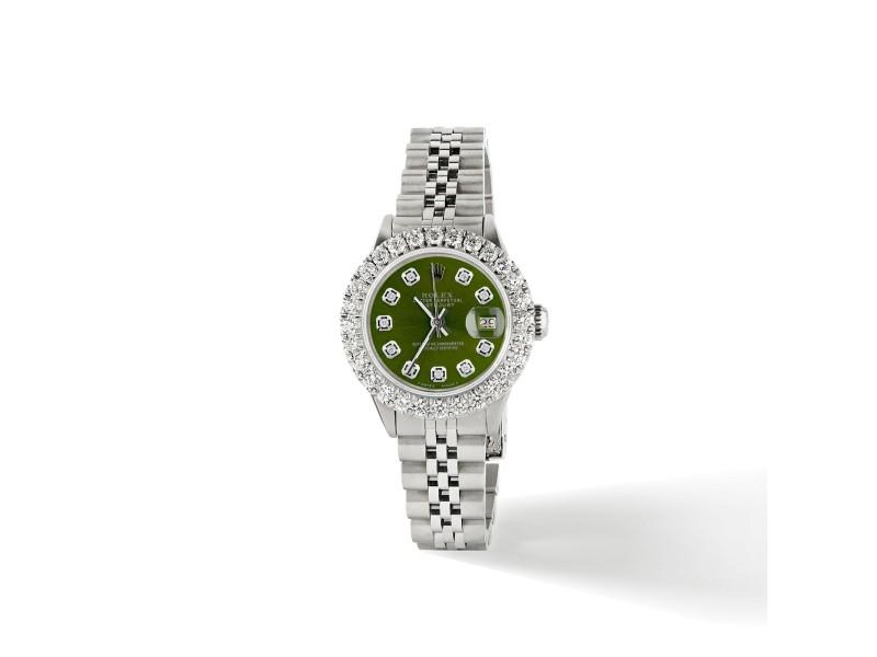 Rolex Datejust Steel 26mm Jubilee Watch 2CT Diamond Bezel / Royal Green Dial