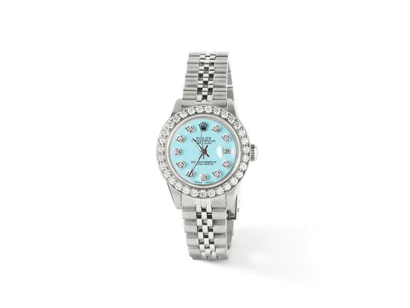 Rolex Datejust Steel 26mm Jubilee Watch Aqua Blue 1.3CT Diamond Bezel & Dial