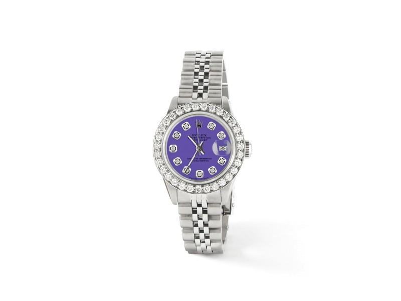 Rolex Datejust Steel 26mm Jubilee Watch Pastel Purple 1.3CT Diamond Dial/Bezel