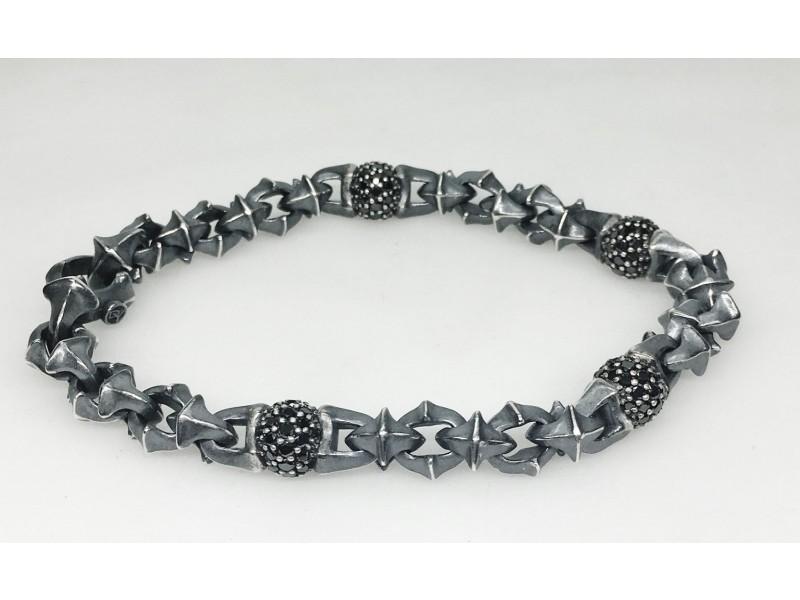 David Yurman  Sterling Silver Black Diamond: 2.75ct  Bracelet