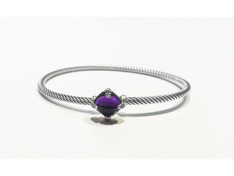 David Yurman  Sterling Silver Amethyst  Bracelet
