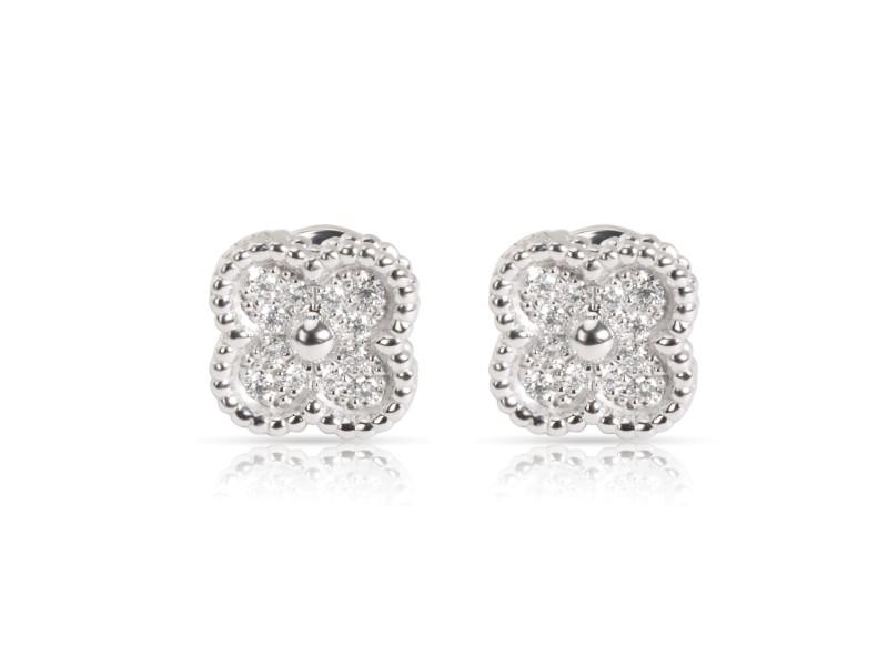 Van Cleef & Arpels Mini Alhambra Diamond Stud Earring in 18K White Gold 0.25 CTW