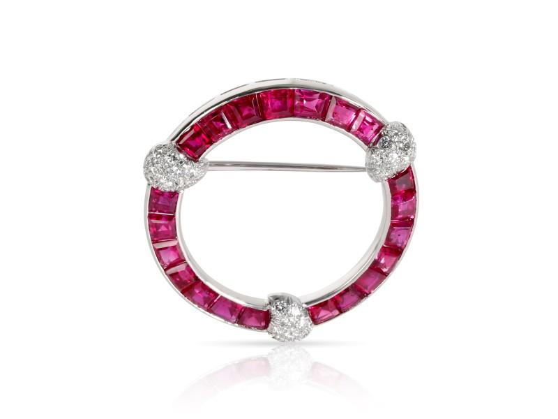 Tiffany & Co. Vintage Ruby Diamond Circle Brooch in  Platinum 0.36 CTW