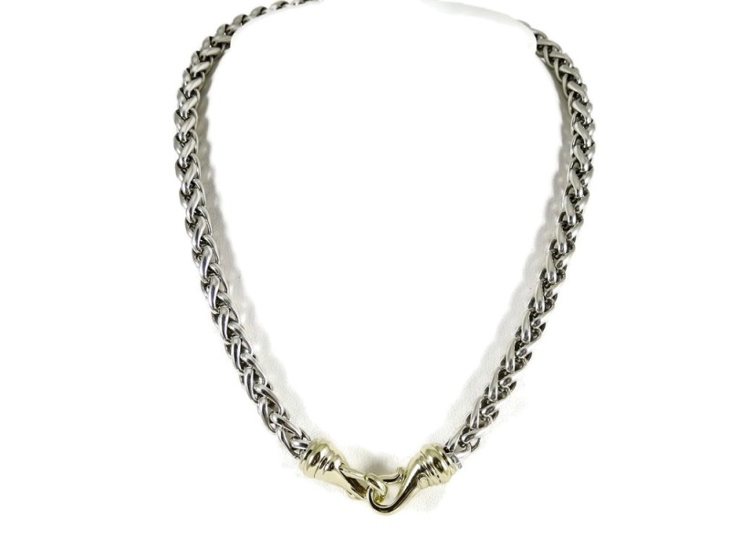 """David Yurman Sterling Silver 14K 15.5"""" 6mm Wheat Chain Necklace With Gold Clasp"""