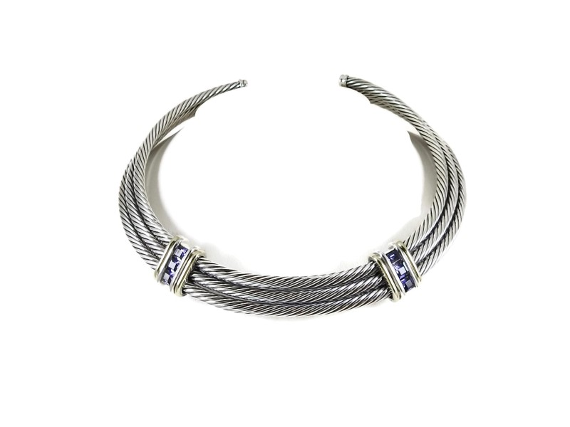 David Yurman Sterling Silver 14K 3-Row Iolite Thoroughbred Cable Necklace