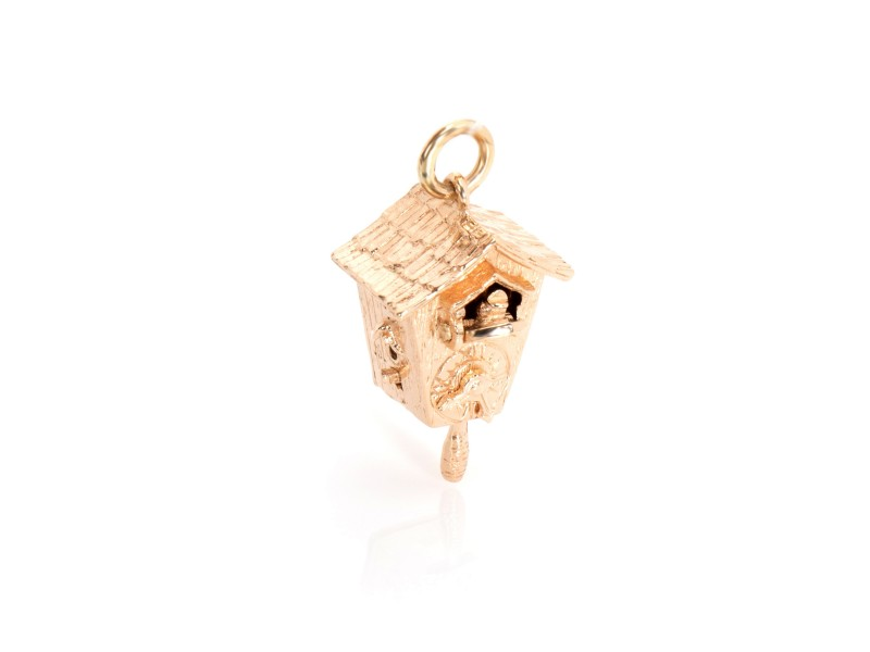 Vintage Cuckoo Charm in 14K Yellow Gold