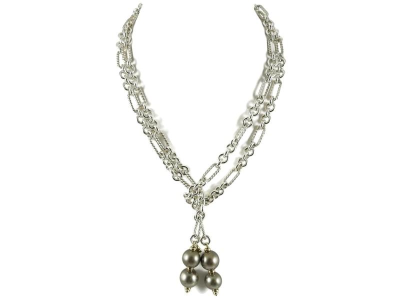 "David Yurman Sterling Silver 18K Gold 40"" Tahitian Pearl Figaro Lariat Necklace"