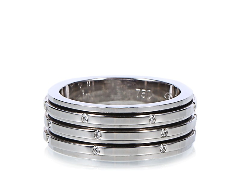 18K White Gold Diamond Possession 3 Band Ring