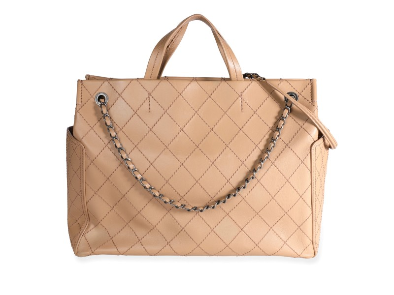 Chanel Beige Calfskin Leather Stitch Pocket Tote