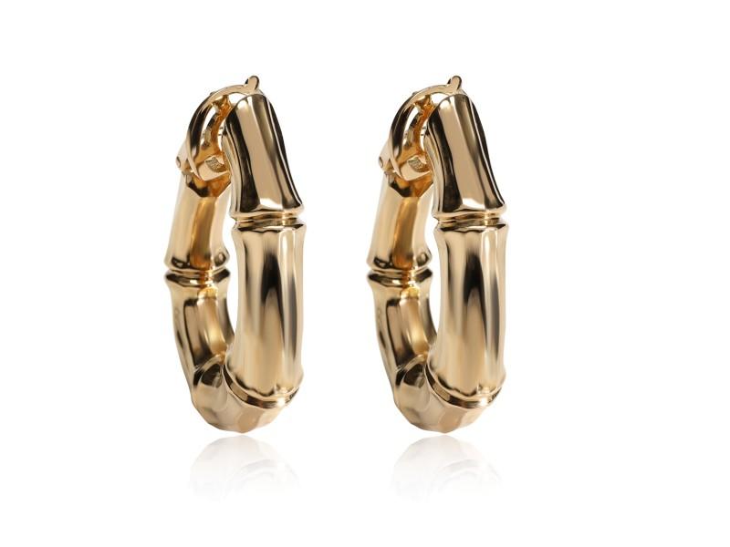 Vintage Cartier Bamboo Hoops Earrings in 18K Yellow Gold