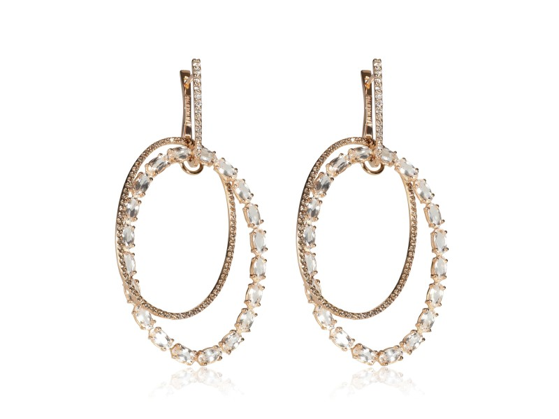 Hoop Earrings with Morganite, White and Champagne Diamonds in 18K Rose Gold
