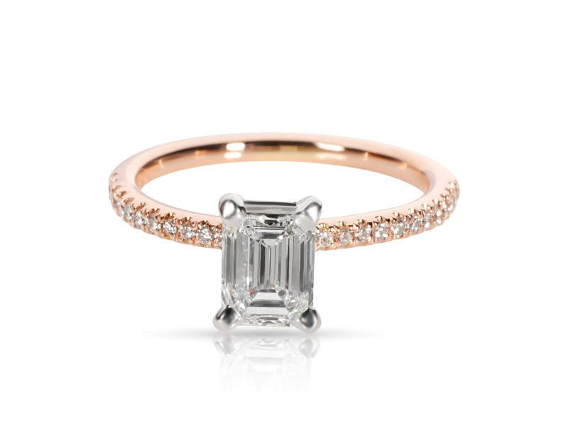 Blue Nile Emerald Diamond Engagement Ring in 14K Rose Gold GIA F VVS2