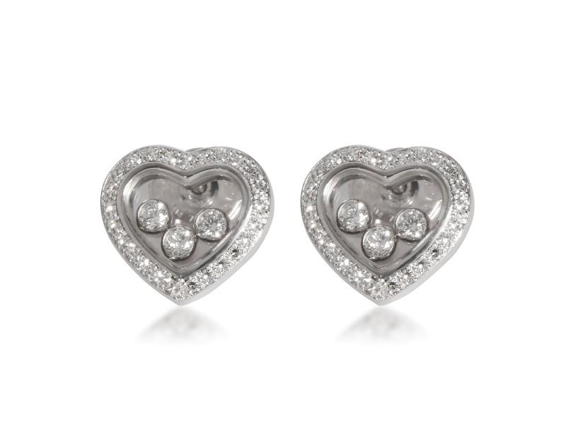 Chopard Happy Diamonds Icons Heart Earrings in 18K White Gold 0.70