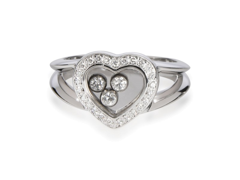 Chopard Happy Hearts Diamond Ring in 18K White Gold 0.28