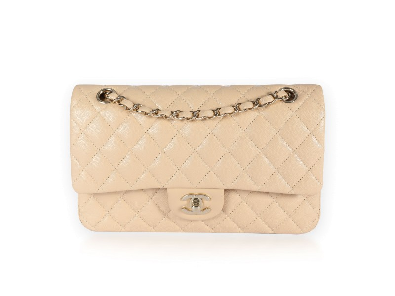 Chanel Beige Quilted Caviar Classic Medium Double Flap Bag