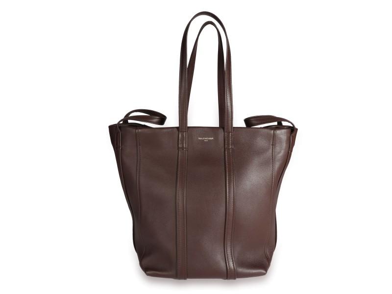 Balenciaga Marron Leather Large Laundry Cabas Tote