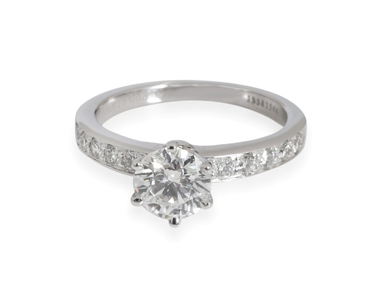 Tiffany & Co. Diamond Engagement Ring in  Platinum F VS2 1.19 CTW