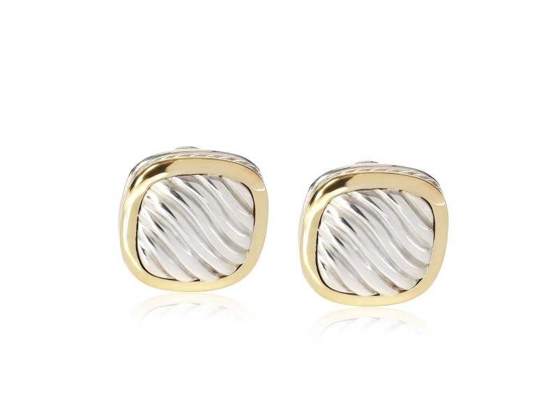 David Yurman Square Cable Earrings in 18K Yellow Gold & Sterling Silver