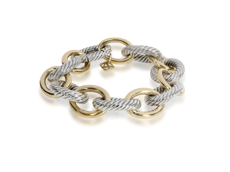David Yurman Oval Link Bracelet in 18K Yellow Gold/Sterling Silver