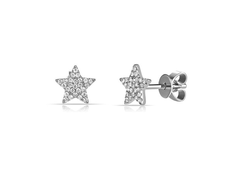 14k Gold & Diamond Star Earrings