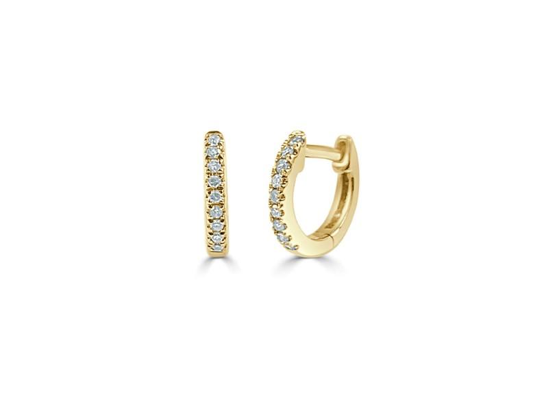 Diamond Huggie Earrings in 14KT Yellow Gold 0.05 ctw