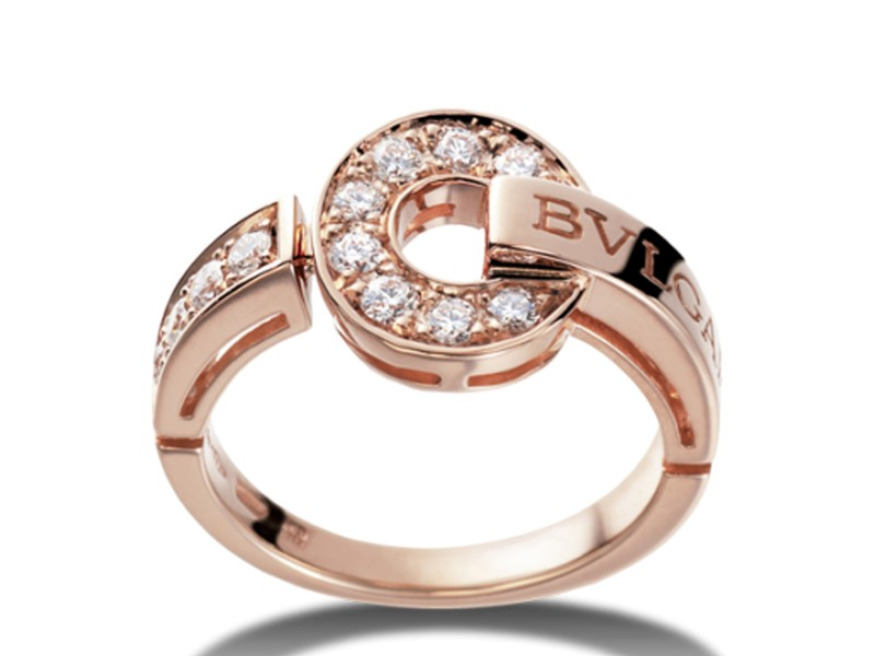 Bulgari 18K Pink Gold Pave Diamonds Ring