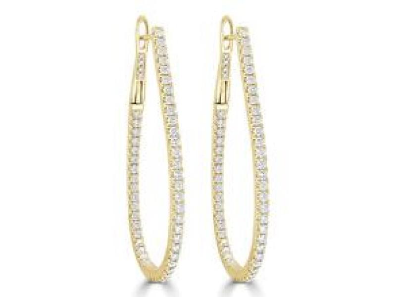 Inside Out Diamond Hoop Earrings in 14KT Yellow Gold 1.60 ctw