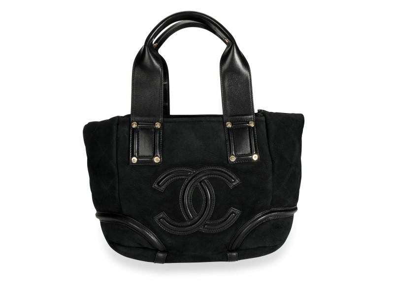 Chanel Black Quilted Shearling & Leather CC Tote