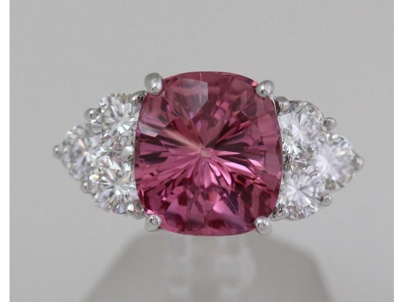White Gold Pink Spinel & Diamond Custom Ring