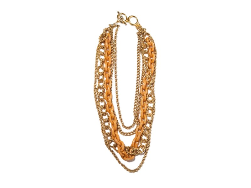 Kenneth Lane 14k Gold Plated Chain and Orange Plastic Multi Strand Necklace
