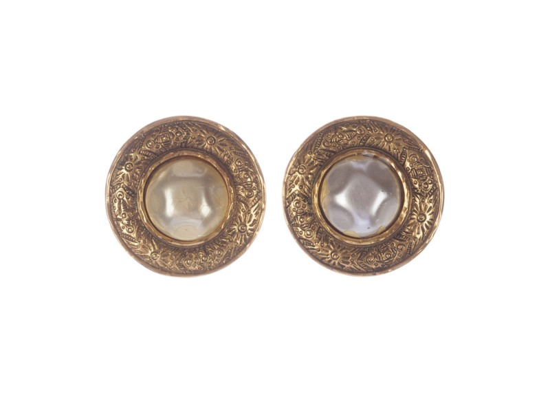 Chanel 18k Gold Plated Etched Simulated Glass  Pearl Bubbled Earrings