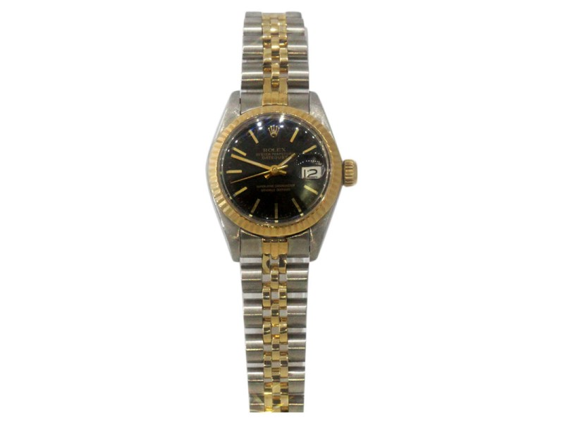 Rolex Datejust Stainless And 18K Yellow Gold Black Dial Ladies Watch