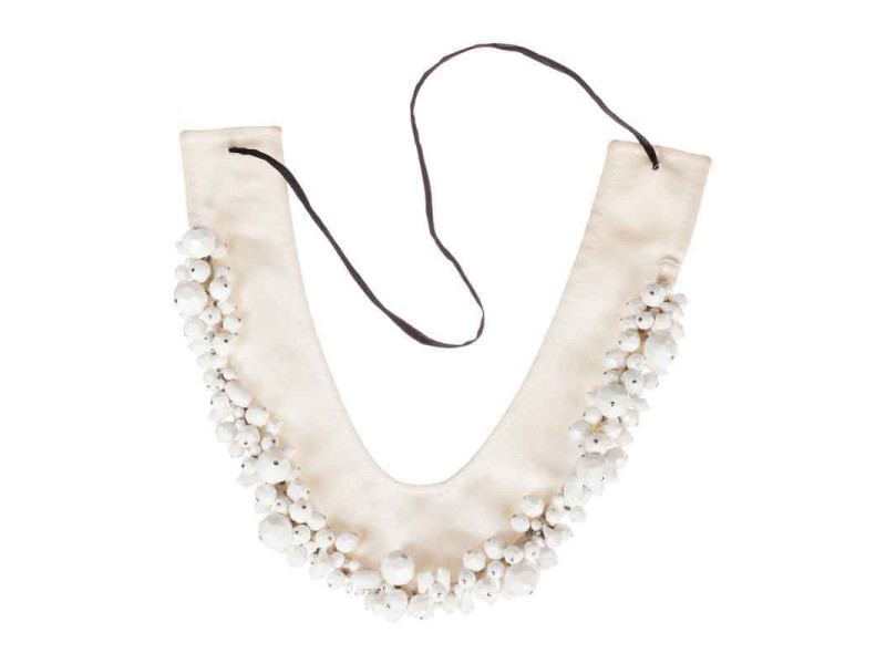 Prada White Faceted Bead Collar Necklace