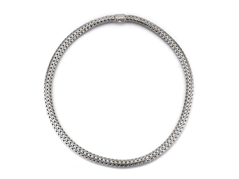 John Hardy 18 Sterling Silver Rhodium Plated Medium Chain Link Necklace