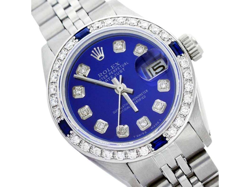 Rolex Datejust Oyster Perpetual Stainless Steel/18K Gold Blue Diamond/sapphire Womens Watch