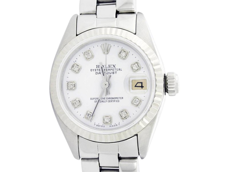 Rolex Datejust Stainless Steel & White Gold Fluted Bezel & Mother Of Pearl Diamond Dial Watch