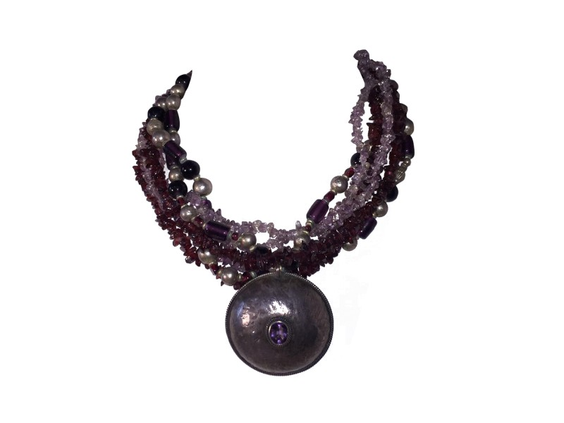 Sterling Amethyst Pendant Glass Amethyst and Garnet Chip Bead Necklace