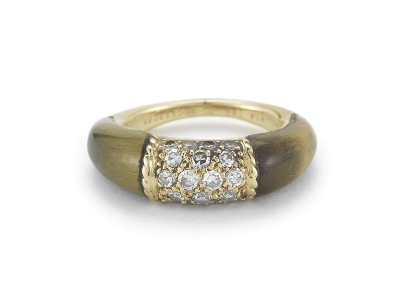 Van Cleef & Arpels 18KY Gold Tiger Eye Ring