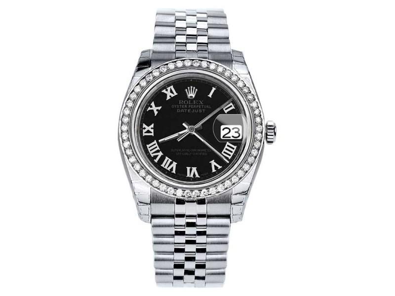 Rolex Datejust Stainless Steel w/Diamond Black Roman Numeral Jubilee 36mm Unisex Watch 2016