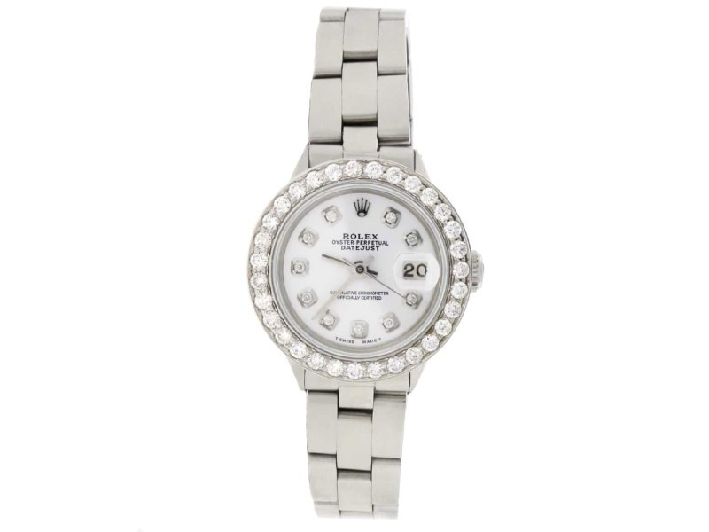 Rolex Datejust Ladies Automatic Stainless Steel 26mm Oyster Watch with White Diamond Dial & Bezel