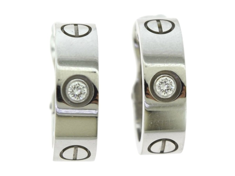 Cartier Love 18K White Gold with 0.14ct Diamond Hoop Earrings