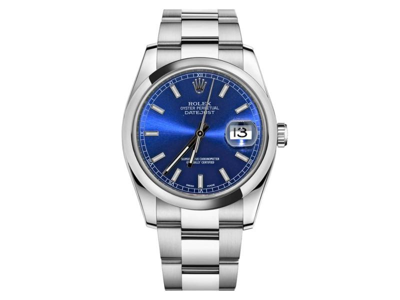 Rolex Datejust Steel Blue Stick Dial 36mm Watch